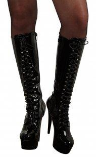 High Heel Stiefel aus Lack, mit Schnürung, 13 cm Absatzhöhe und Plateau