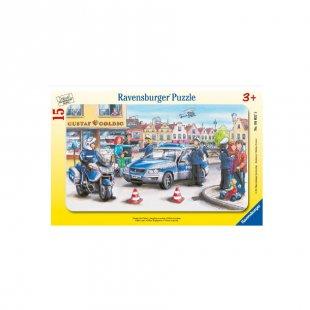 RAVENSBURGER Rahmenpuzzle Einsatz der Polizei 15 Teile 06037