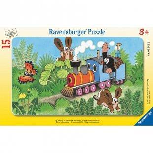 RAVENSBURGER Rahmenpuzzle - Der Maulwurf als Lokführer, 15 Teile