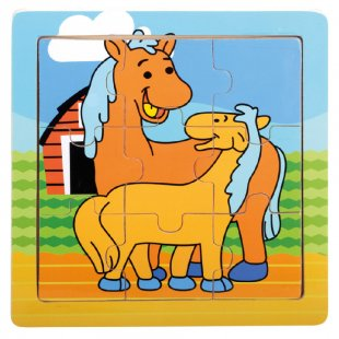 Bino Holz-Puzzle Pferde