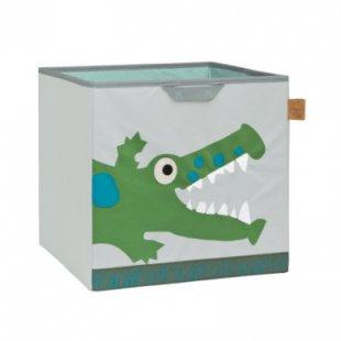 LÄSSIG 4Kids Toy Cube Storage Crocodile granny - grau