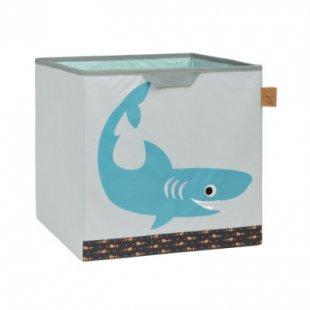 LÄSSIG 4Kids Toy Cube Storage Shark ocean - grau