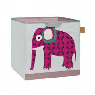 LÄSSIG 4Kids Toy Cube Storage Wildlife Elephant - grau