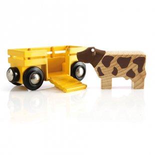 BRIO® WORLD Tierwagen mit Kuh 33406