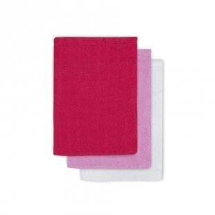 jollein Mullwaschlappen fuchsia/rosa/weiß 3er-Pack 15x20cm