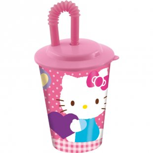 P:OS Trinkbecher mit Strohhalm - Hello Kitty