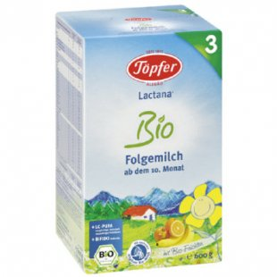 Töpfer Lactana Bio 3 Folgemilch 600 g - Gr.ab 10 Monate