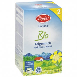 Töpfer Lactana Bio 2 Folgemilch 600 g - Gr.ab 7 Monate