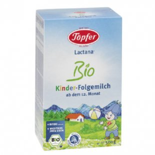 Töpfer Kinder Folgemilch Lactana Bio 500 g - Gr.ab 1 Jahr