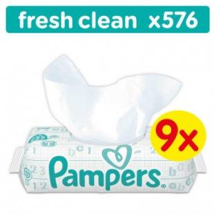 Pampers Feuchttücher Fresh Clean Vorteilspack Mega 9 x 64 Stück