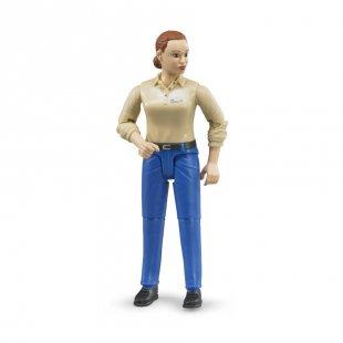 bruder® Frau mit hellem Hauttyp und blauer Hose 60408