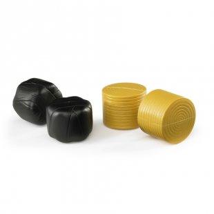 bruder® Zubehör: 4 Rundballen (je 2 schwarz/ocker) für Ballenwickler 02345