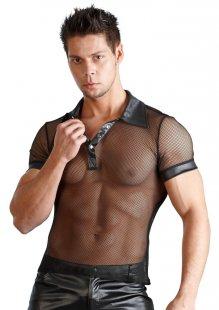 Hemd aus Netz und Wetlook, mit Polokragen und Druckknopfleiste