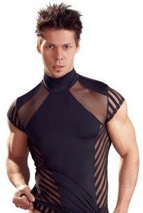 Shirt in Streifen-Optik, mit elastischem Stehkragen