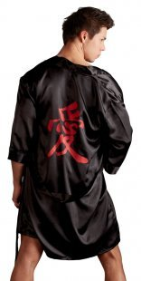 Kimono aus Satin, mit Bindegürtel und chinesischem Schriftzeichen