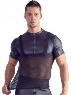 Shirt im schwarzen Matt-Look mit Powernet