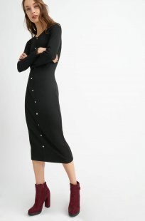 Midi Bodycon-Kleid mit Knöpfen