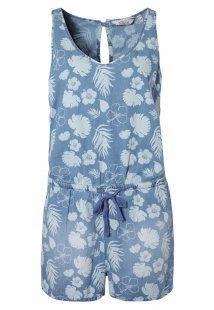 Denim Jumpsuit - Blumen Print