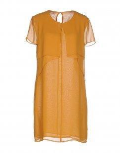 STEFANEL Damen Kurzes Kleid Farbe Ocker Größe 6