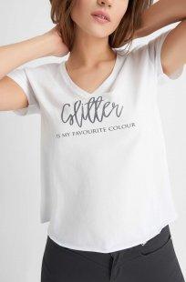 Slogan T-Shirt mit V-Ausschnitt