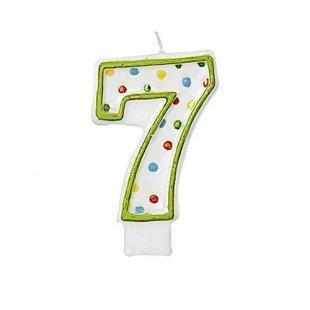 Riethmüller - Kerze Zahl 7 mit Punkten