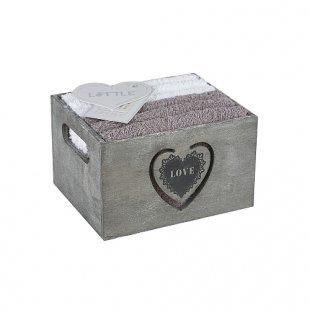 B&F Lifestyle - LITTLE Geschenkset 6er Waschlappen / HERZ grau-weiß