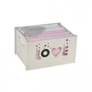 B&F Lifestyle - LITTLE Geschenkset 6er Waschlappen / LOVE rose-weiß