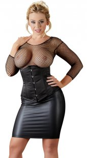 Minirock im Wetlook, elastisches Material, Plus-Size