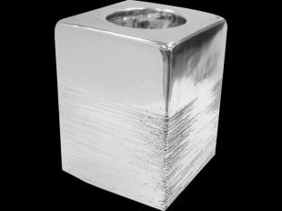 Kerzenhalter, eckig, silber, ca. 10 cm Höhe