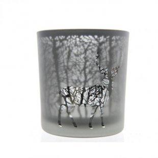 Glasteelicht Hirsch, 8cm hoch, grau