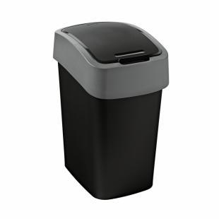 Abfallbehälter Flip Bin, 10 L, schwarz/hellgrau