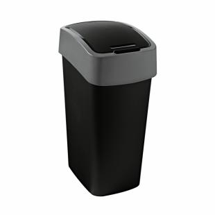 Abfallbehälter Flip Bin, 50 L, schwarz/hellgrau