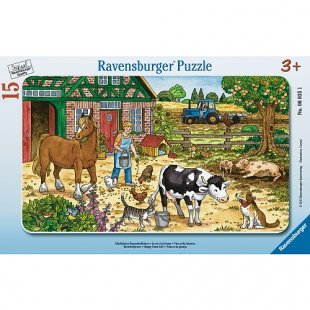 Ravensburger - Rahmenpuzzle: Glückliches Bauernhofleben, 15 Teile