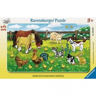 Ravensburger - Rahmenpuzzle: Bauernhoftiere auf der Wiese, 15 Teile