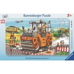 Ravensburger - Rahmenpuzzle: Arbeit mit der Straßenwalze, 15 Teile