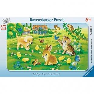 Ravensburger - Rahmenpuzzle: Kuschelige Tierkinder, 15 Teile