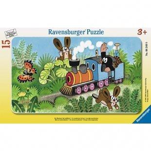 Ravensburger - Rahmenpuzzle: Maulwurf Lokführer, 15 Teile