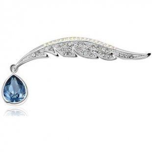 Blue Pearls Broschen Pfauenfeder-Brosche mit blauen Swarovski Elements