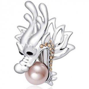 Blue Pearls Broschen Rhodiumplattierte Drache-Brosche mit Perle und silbernen Swarovs