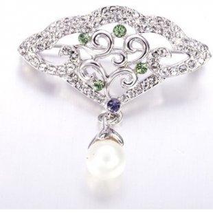 Blue Pearls Broschen Rhodiumplattierte Perlen-Brosche mit violetten und grünen Swarov