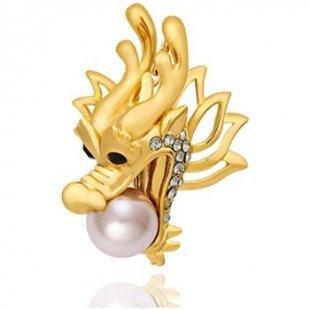 Blue Pearls Broschen Rhodiumplattierte Drache-Brosche mit Perle und goldenen Swarovsk