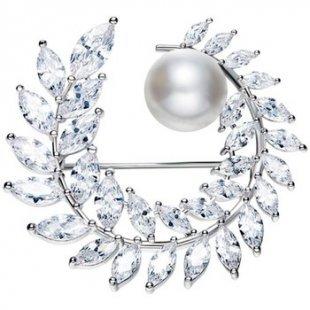 Blue Pearls Broschen Frau Brosche Kristall Swarovski Element Cubic Zirconia Weiß