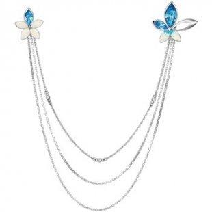 Blue Pearls Broschen Rhodiumplattierte Blumen-Halskette mit blauen Swarovski Elements