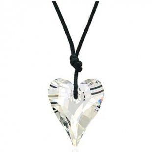 Blue Pearls Kette Herz Halskette in Kristall Weiß von Swarovski Elements