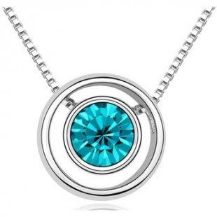 Blue Pearls Kette Kreis-Anhänger mit blauem Swarovski Elements