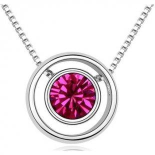 Blue Pearls Kette Kreis-Anhänger mit rosafarbenem Kristall Swarovski Elements