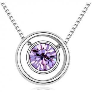 Blue Pearls Kette Kreis-Anhänger mit violettem Swarovski Elements
