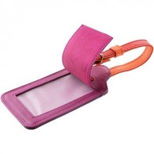 Dudu Reisetasche Kofferanhänger Adressschild aus Leder bunt für Reisegepäck mit