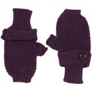 Anta Q´ulqi Handschuhe BABY ALPACA - Lila Gestrickte Fäustlinge mit Zierknopf 100% Baby