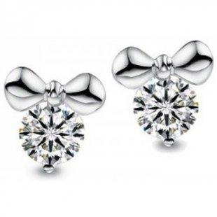 Blue Pearls Ohrringe Schleifen-Ohrringe mit kristallweißen Swarovski Elements